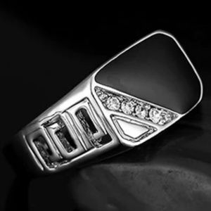 Men's Silver and Onyx Ring
